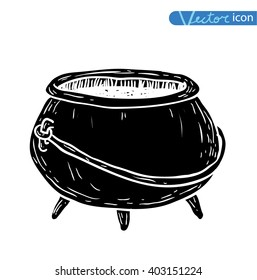 Witches cauldron with potion isolated. vector illustration silhouette black