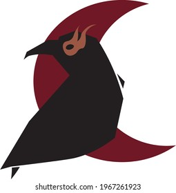 Witches crow with a red moon. for logos, t-shirts, posters. Raven with fiery eyes. Сrescent crow