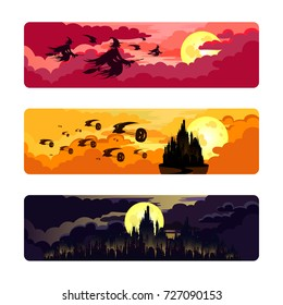 Witches flying on broomsticks with bats. Halloween pumpkins. Kingdom. Castle. Vector.