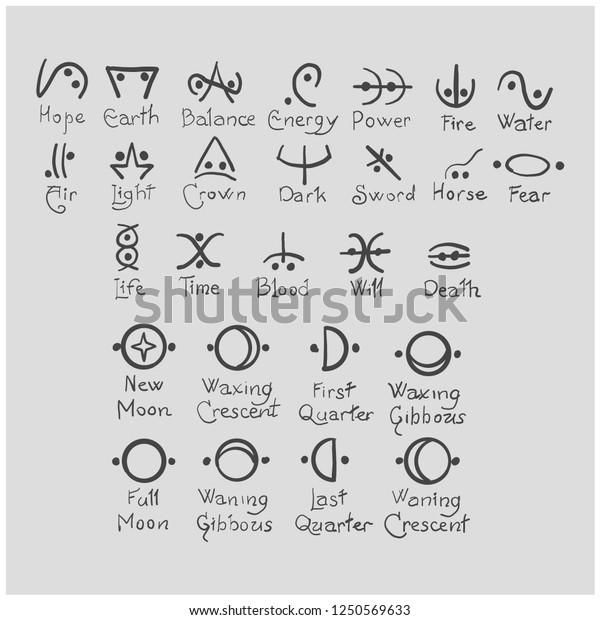 Witches Grimoire Sigils Symbols Meaning Wattpad Stock Vector