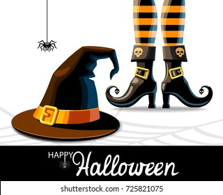 Witches hat and legs in shoes with a spider on white background, vector illustration.