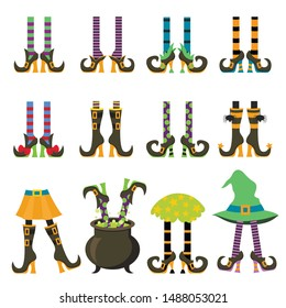 Witches legs flat vector illustrations set. Halloween costume. Women shoes and stockings isolated cliparts pack. Female high heel boots and various pattern tights collection on white background