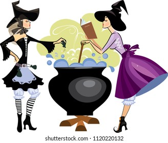 witches preparing a potion, vector illustration of  two witch is cooking something poisonous in her cauldron, at Halloween night