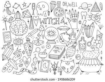 witches set, magic, doodle illustration on white background
