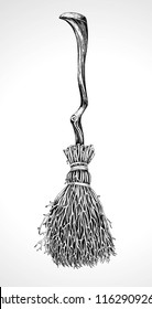 Witch's broom vector drawing on a white background
