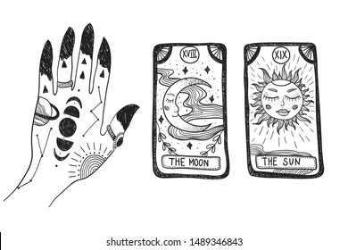 Witch's hand with tattoos, stars and moon phases. Tarot cards. Tattoo sketch. Vector graphic illustration on white isolated background