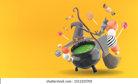 The witch's pot is surrounded by witch hats, brooms, bats, balls, and candies on an orange background.