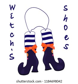 Witch's shoes on a string. Halloween. Vector illustration