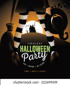 Witchy Halloween party invite EPS 10 vector