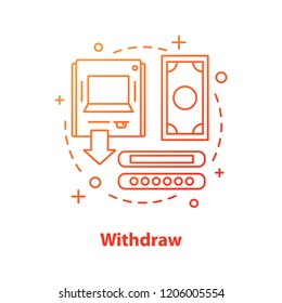 Withdraw money concept icon. ATM idea thin line illustration. Cash out. Cash machine. Vector isolated outline drawing