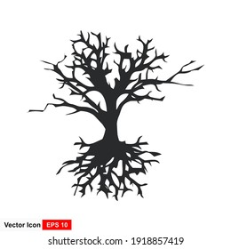 wither tree and roots vector illustration, molt tree, drought tree vector