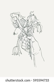 withered flowers in her hand, gone feeling concept. Hand drawn illustrations
