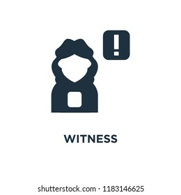 Witness icon. Black filled vector illustration. Witness symbol on white background. Can be used in web and mobile.