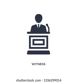 witness isolated icon. Simple element illustration from law and justice concept. witness editable logo symbol design on white background. Can be use for web and mobile.