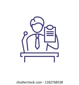 Witness line icon. Male character at tribune showing document. Justice concept. Can be used for topics like judicial hearing, evidence, trial, proof