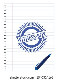 Witness-box emblem draw with pen effect. Blue ink. Vector Illustration. Detailed.