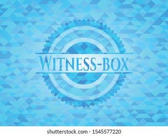 Witness-box sky blue emblem. Mosaic background