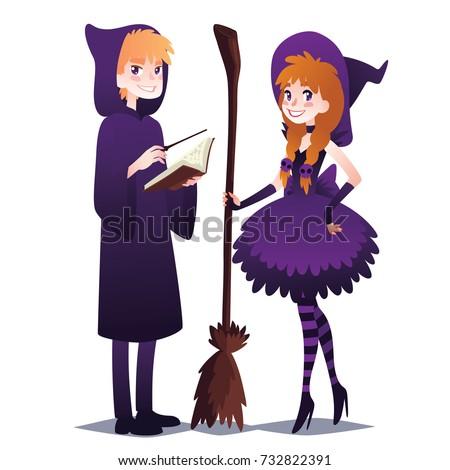 Wizard Boy Book Magic Stick Witch Image Vectorielle De Stock Libre