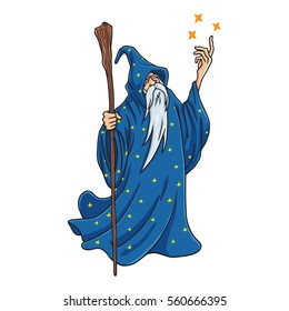 Wizard Cartoon with Blue and Stars Clothes Character Design Mascot Vector Illustration