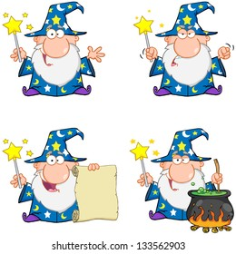 Wizard Cartoon Characters. Vector Collection 1