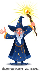 wizard casting a spell cartoon illustration