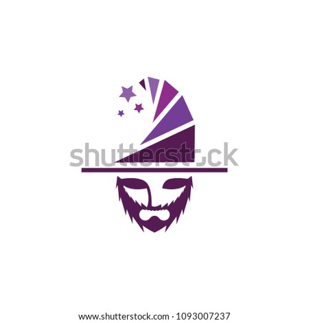 wizard character logo template v 1 cool stock vector royalty free
