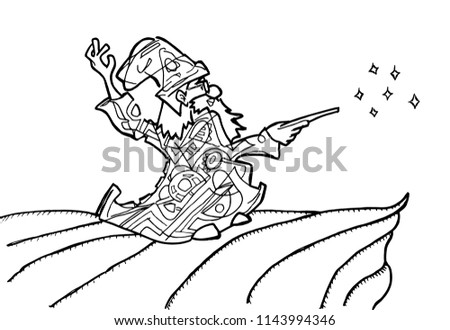 Wizard Coloring Page Stock Vector Royalty Free 1143994346