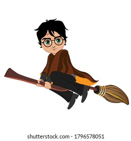The wizard flies on a magic broomstick. Vector illustration
