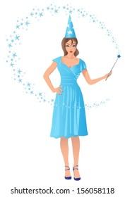 wizard girl holding a magic wand in her hand. Vector illustration.