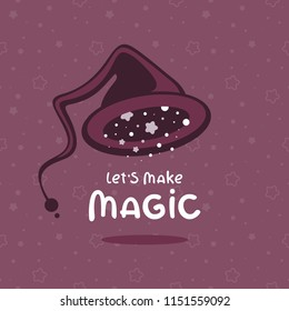 wizard hat lets make magic lettering stock vector royalty free