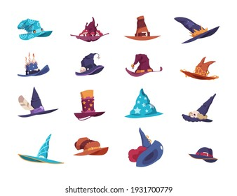 Wizard hats. Cartoon magician wide-brimmed pointed headgear. Colorful headdress decorated with fluffy feathers and bright ribbons, candles or bells. Vector isolated set of sorcerer's headwear types