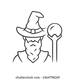 Wizard linear icon. Thin line illustration. Sorcerer, magician in hat. Old wise man, fantasy druid. Fairytale warlock with beard. Contour symbol. Vector isolated outline drawing. Editable stroke