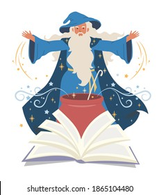 Wizard, mage cooking potion in cauldron and reading spell book, flat vector illustration. Warlock, sorcerer, old beard man in blue wizards robe, hat. Mystery, fantasy, witchcraft, magic Merlin spells.