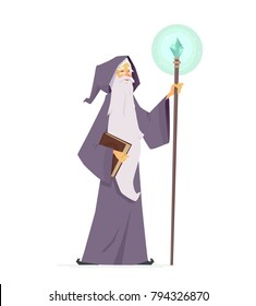 Wizard with magic book and wand - cartoon people characters illustration isolated on white background. An image of an old kind magician with long white beard in a mantle holding a stick with crystal