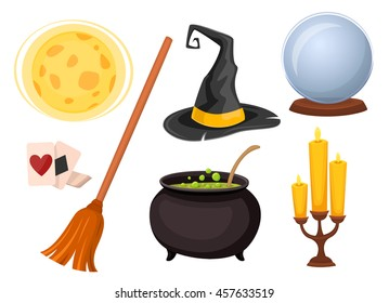 Wizard and magic tricks icons. Wizard hat, magic ball for divination and other wizard icons.