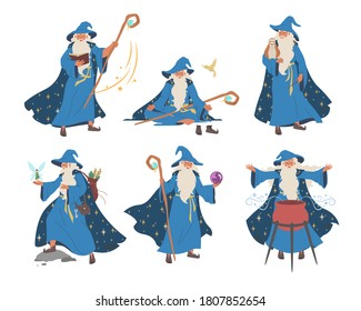 Wizard, magician cartoon character set, flat vector illustration. Old beard man in blue wizards robe hat. Warlock, sorcerer with magical wand, cauldron. Mystery fantasy witchcraft, magic Merlin spells