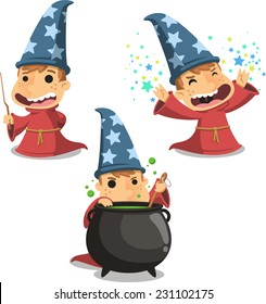 3D Printed T-Shirts Male Child Wizard Cute Hat with Bag Full of Sweets and Magic