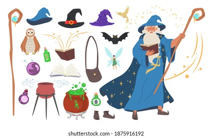 Wizard, magician set, flat vector illustration. Old beard man in blue wizard robe, hat, with magic staff, spell book. Warlock, sorcerer, witch tools cauldron, potion, shoes. Mystery fantasy witchcraft