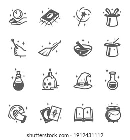 Wizard, magician, sorcerer, witch accessories bold and line black silhouette icons set isolated on white. Magic wand, hat, book pictograms. Prediction, tarot, crystal ball, pot vector element for web.