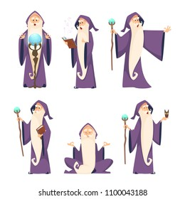Wizard male. Cartoon mascot in action poses. Magician and sorcerer, warlock man in robe, vector illustration