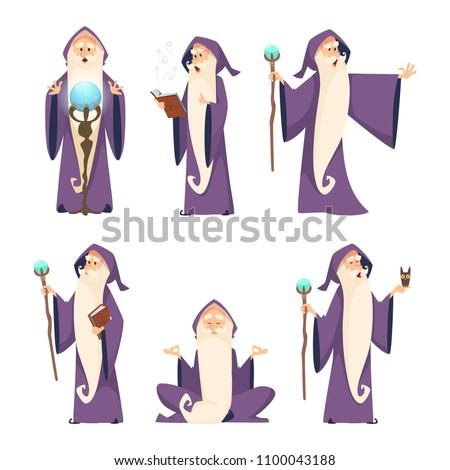 Wizard Male Cartoon Mascot Action Poses Image Vectorielle De Stock