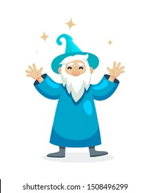 Wizard male character, mage, a sorcerer in a mantle and hat. Warlock with hands up. Concept of magic and witchcraft. Wizard male cartoon vector illustration isolated.