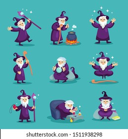 Wizard male character, mage, sorcerer in a mantle and hat. Warlock in a bathrobe, in various situations. Magic medieval accessories. Mystery vector illustration isolated.