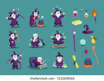 Wizard male character, mage, a sorcerer in a mantle and hat. Warlock in a bathrobe, in various situations. Magic medieval accessories collection. Mystery vector illustration isolated.