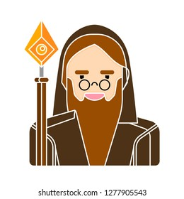 wizard man icon - wise logo isolated, halloween wizard illustration - halloween Vector