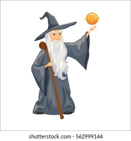 Wizard. Old man with magic staff, hat and mantle. Fairytale. Fantastic kingdom character vector cute clip art. Sorcerer conjures