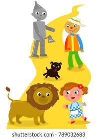 The wizard of Oz. Dorothy with her dog, the Scarecrow and the Tin Man meets the Lion.