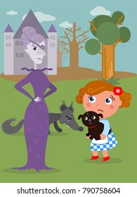 The wizard of Oz. Dorothy with her dog and the wicked West witch, vector illustration