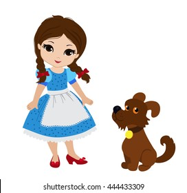 Wizard of Oz. Dorothy and her puppy. Vector.