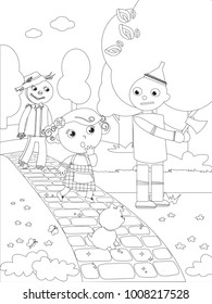 The wizard of Oz. Dorothy and the Scarecrow meet the Tin Man in the wood, coloring